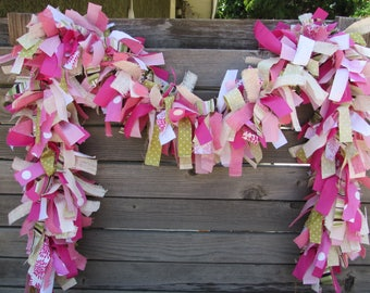 6' Spring Fabric Garland Spring Burlap Swag Girl Birthday Party Garland Baby Shower Garland Pink Green Garland Spring Decor Floral Garland