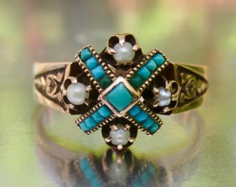 Antique Victorian Turquoise and Pearl Rose Gold Ring 10K
