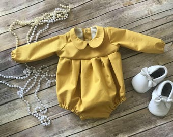 Mustard Peter & Sally Romper - Long Sleeve Peter Pan Collar Romper - Romper - Mustard Romper - Long Sleeve Romper - Baby Romper