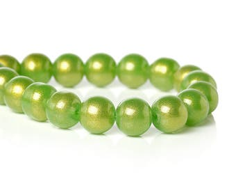 Spring Green Glass Beads Glitter Bead 10mm Large Spacer Bead Green Gold with Swirl Glitter Shiny 20/50  3885