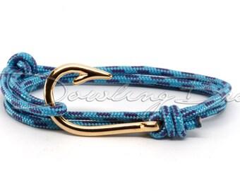 Caribbean 18K Gold Plated Fish Hook Bracelet