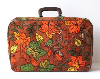 Fall Foliage Childrens Vintage Floral Suitcase For Clothing or Dolls Made in Korea