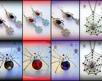 50% SALE Spider Costume Jewelry..Spider Jewelry..Spider Web Costume..Spider Necklace..Spider Earrings..Spider Pin..Creepy Jewelry..Your Pick