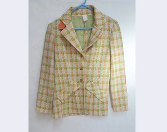 1970s Pastel Plaid Blazer in Pink and Green // Hippie Boho Plaid Punk Jacket // Women's Size 8, Men's Small