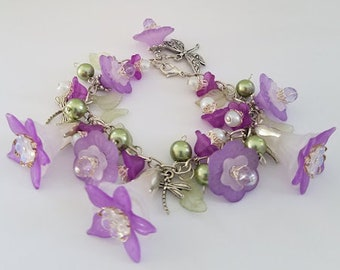 Violet, Green, & White Flower Charm Bracelet, Flower Bracelet