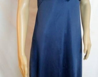 Vintage 1960' Lace Slip Lingerie  Dark Blue Scalloped Lace Details