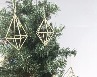 Small Geometric Himmeli Ornaments - Hanging Mobile - Holiday Decor - Minimalist Orb - Brass Cube - Air Plant Holder - Wedding Centerpiece