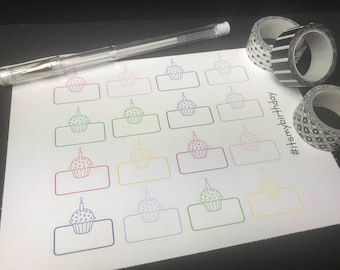 Cupcake Birthday Planner Stickers