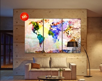 map on canvas wall art Print  print on canvas wall art map on canvas wall art art artwork large world map Print home office decoration