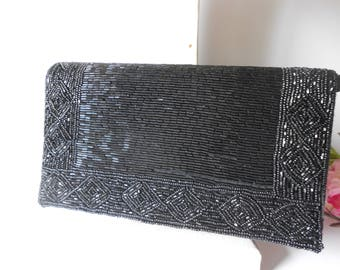Black Beaded Evening Bag, Vintage Evening Bag, Black Bead Clutch, Beaded Handbag EB-0560