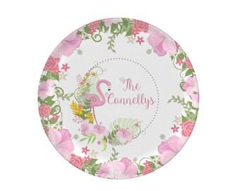 Flamingo Plate Personalized - Dinosaur Birthday Plate - Children's Plate - Kids Birthday Plate - Custom Melamine Plate - Mad For Monograms
