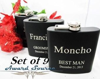Set of 9 Engraved Flasks, Personalized Groomsmen Gift,, Black Engraved Flasks, 6 oz. Hip Flask