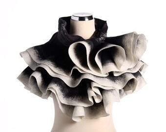 Wavy shawl Felt ruffled scarf - Game of Black and White - Handmade wool and silk