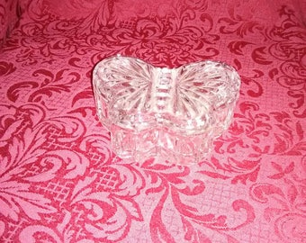 Vintage. Crystal butterfly dish with lid