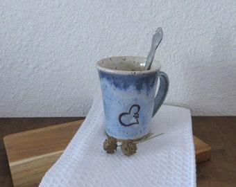 Mug Cup - Handmade Stoneware Ceramic Pottery - Sky Blue and White - Dog Love - 10 ounce