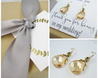 Gold bridesmaid earrings set of 3 pairs, bridesmaid card, champagne earrings, bridesmaid earings set of 3, Swarovski crystal gold earrings