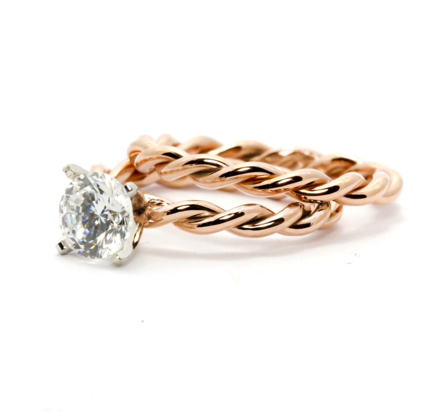 Hand Twisted Rope Engagement Ring and Wedding Band Set