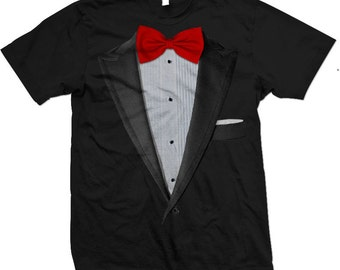 Realistic Tuxedo T-shirt. Tux and Bow tie suit T-shirts and Apparel. Tuxedo T shirts.