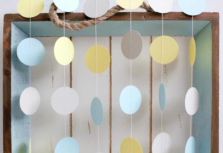 Light Blue Yellow Grey 12 ft Circle Paper Garland Wedding