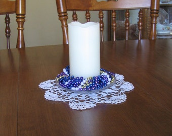 """Candle ring-authentic N.O. Mardi Gras beads """"Berry Pretty"""" (CR-03)"""