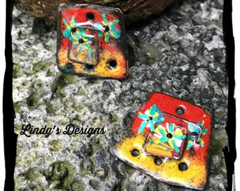 Red and Yellow Square  Enameled Earring Charms