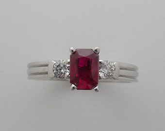 Ruby and Diamond Engagement Ring Made In The USA One Of A Kind 14K