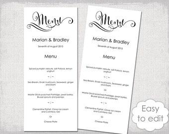 """Printable Wedding Menu template Modern calligraphy script black menu DIY """"Cantoni"""" digital menu templates YOU edit Word instant download"""