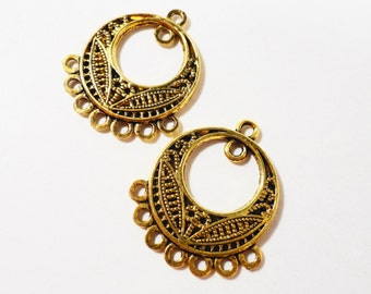 Antique Gold Chandelier Earring Findings 25x22mm Hoop Earring Connectors, 7 to 1 Connector Charms, Bohemian Jewelry Findings, Pendants, 6pcs