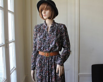 Liberty dress wild flowers 70s 80s romantic rock vintage dress collared buttoned high waist elastic long sleeves floral print - XS