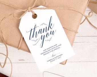 Navy Blue Thank You Tag, Gift Tags, Wedding Thank You Tags, Wedding Favor, Thank You Printable, Favor Tag, Printable tags, WPC_174SD1B