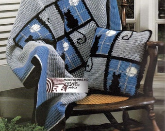 Crochet Afghan and Pillow Cat in the Window Charted Pattern Vintage 60s Blanket Throw PDF