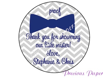 Personalized PRINTED Navy and Gray bow tie stickers baby shower sticker blue and gray chevron baby shower favor stickers