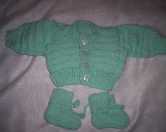 Hand Knitted Baby Cardigan and Bootie Set - Green (Small size for New Born )