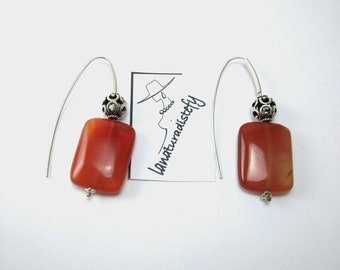 Carnelian Earring Natural stone and silver, gift for you, handmade.