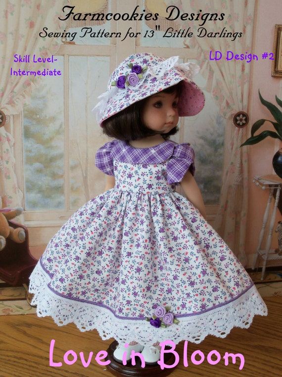 """PDF Sewing Pattern / Love in Bloom by Farmcookies / Sewing Pattern for  Dianna Effner's 13"""" Little Darling Dolls"""