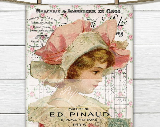 Digital Shabby Chic Victorian Girl with Hat, Large Instant Download Victorian Digital Printable, French inspired Graphic