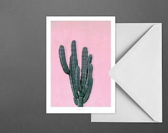 Postkarte Kaktus No. 1 / Pink, Cactus, Desert, Typography Art, Kunstdruck