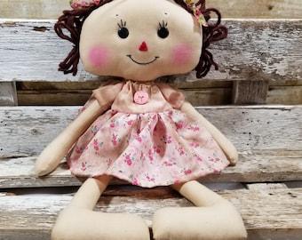Raggedy Annie Peggy Annie Primitive Doll Raggedy Ann Light Pink Floral Dress Annie Doll Ready To Ship!