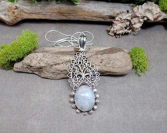 Bohemian Moonstone Necklace - Gemstone Necklace - Paisley Gemstone Pendant - Sterling Silver