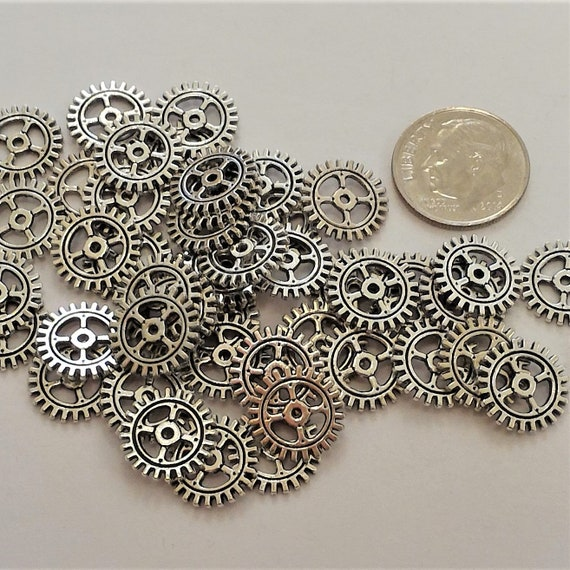 "CLEARANCE 35 pcs 12mm Steampunk Clock Gears Cogs Charms Metal Bike Steampunk Jewelry Silver Metal Watch Gears 1/2"" Diameter Bicycle Gears"
