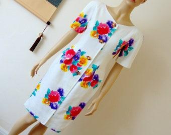 Vintage OSCAR de la RENTA Bombshell Tulip Floral Dress 1980s Size S/UK8