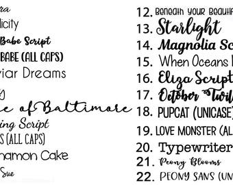 Available Font Options (DO NOT PURCHASE)