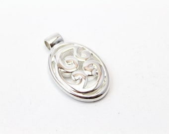 Sterling Silver Pendant with Floral Design