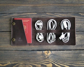 Leather travel cord organizer. Cord organizer. Handmade. Dark brown color.