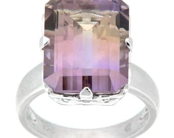 Bi-Color Ametrine Emerald-Cut Ring SSR-127-BCA