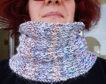 White + shades of purple mohair Snood/neck