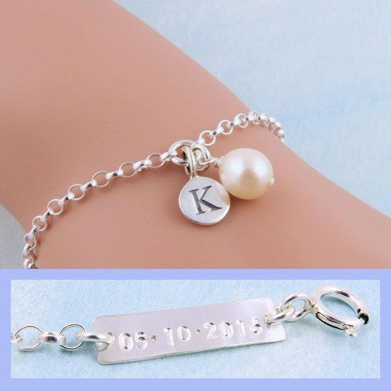 Bridesmaid Bracelet Date Stamped Bracelet Freshwater Pearl