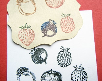 Tiny Fruit Rubber Stamp Set - Strawberry, Raspberry, Apple, Blueberry, Peach - Set of 5 - Handmade by Blossom Stamps