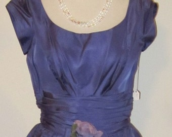 Vintage-Lavender-Periwinkle-Lavender Dress-Periwinkle Dress-Lavender Taffeta Dress-Periwinkle Taffeta Dress-S