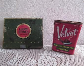 Vintage Lucky Strike Cigarette/Velvet Tobacco and Cigarette Tin